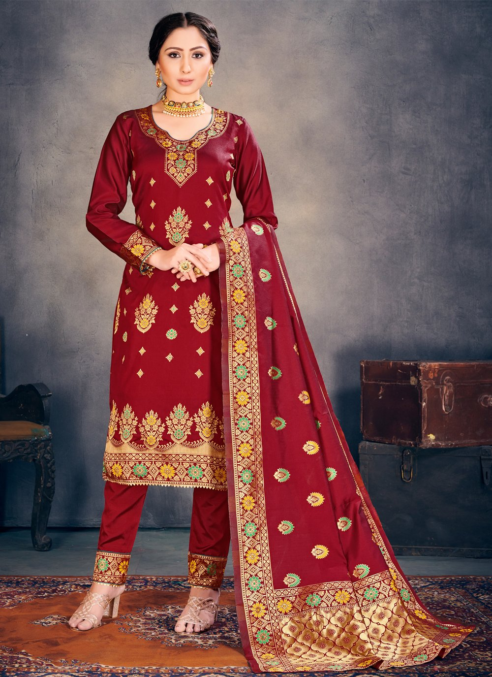 Maroon Weaving Banarasi Silk Pant Style Suit