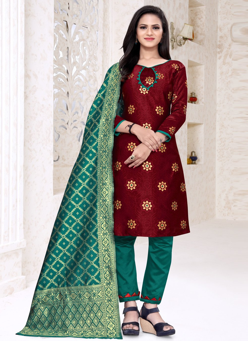 Maroon Weaving Churidar Designer Suit