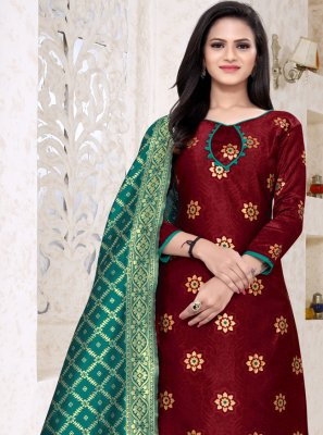 Maroon Weaving Churidar Designer Suit