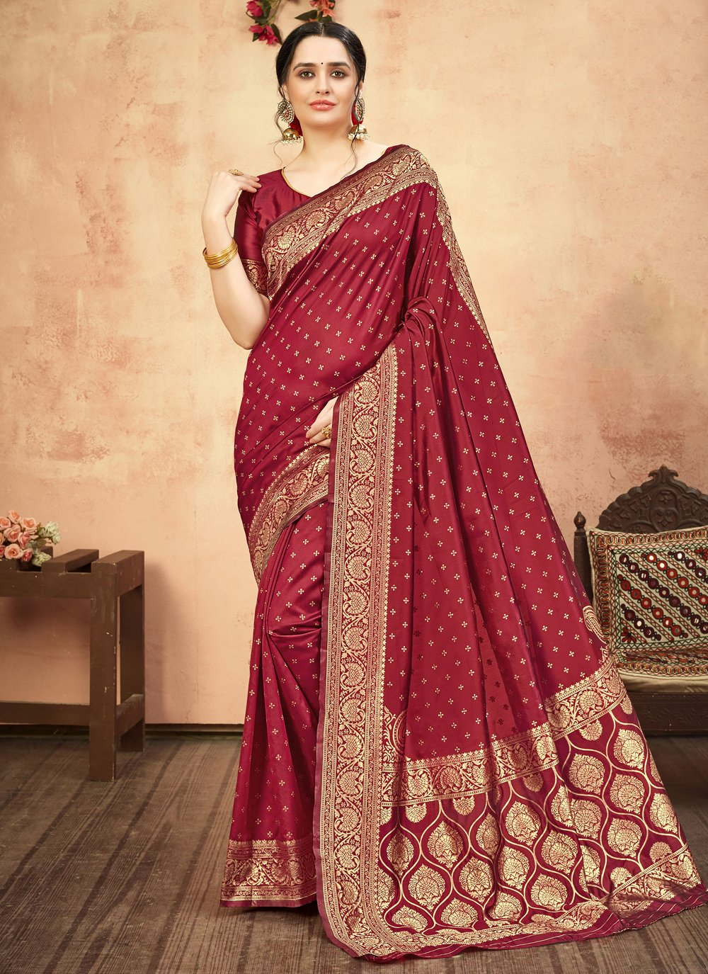 Maroon Weaving Designer Traditional Saree