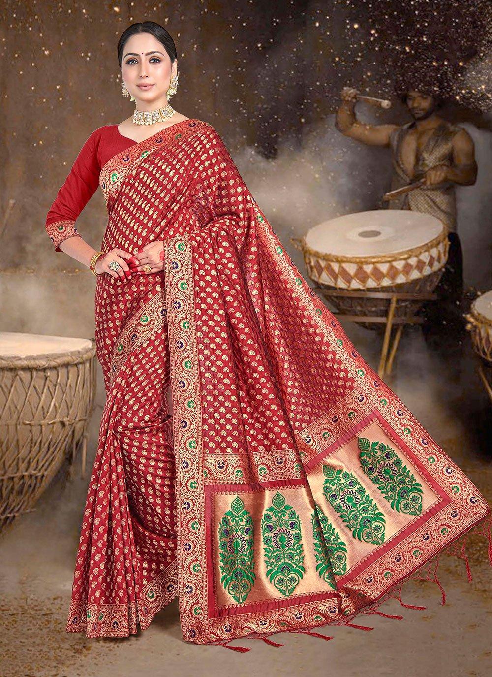 Maroon Weaving Festival Classic Saree