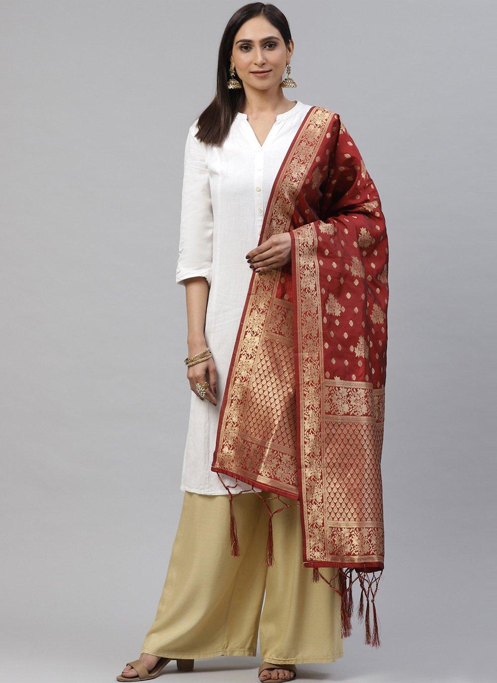 Maroon Weaving Festival Designer Dupatta