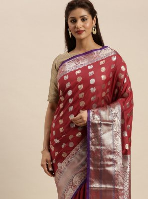 Maroon Weaving Silk Designer Traditional Saree
