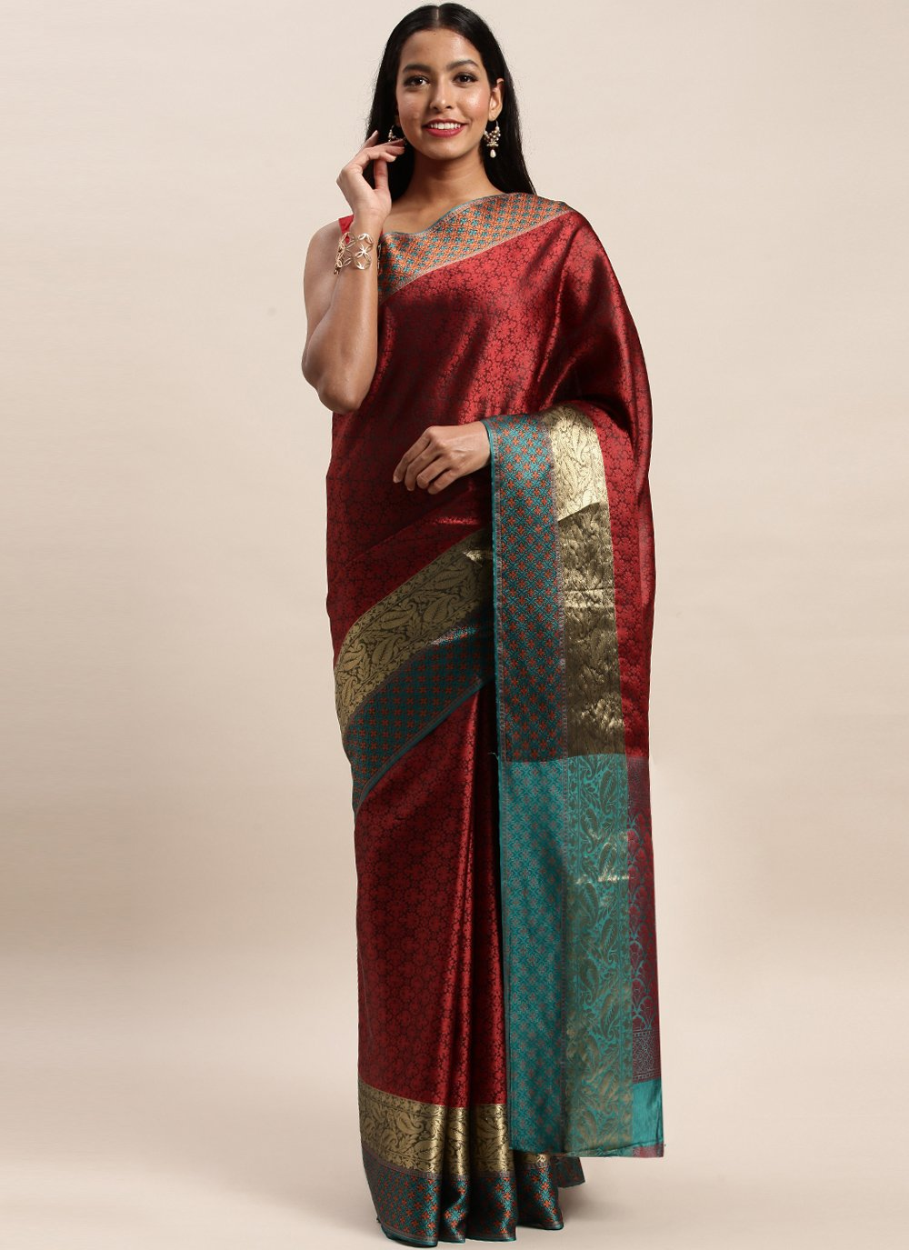Maroon Woven Party Traditional Saree