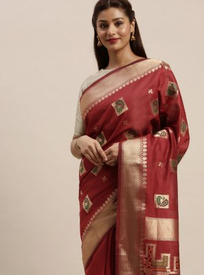 Maroon Woven Trendy Saree