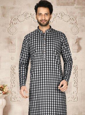 Maslin Cotton Kurta Pyjama in Off White