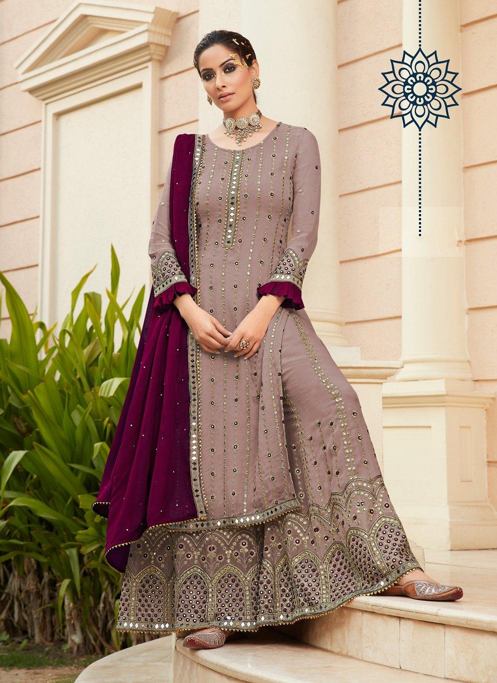 Mauve  Ceremonial Designer Palazzo Salwar Suit