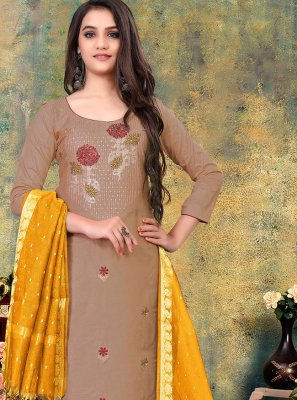 Mauve  Embroidered Cotton Pant Style Suit