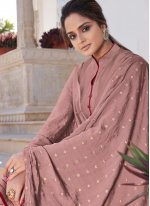 Mauve  Embroidered Readymade Suit