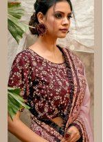 Mauve  Engagement Crepe Silk Designer Traditional Saree