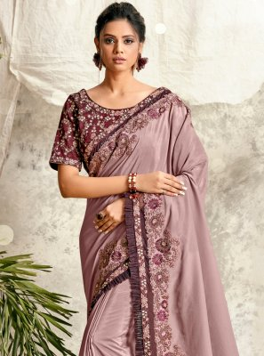Mauve  Engagement Crepe Silk Designer Traditional Saree