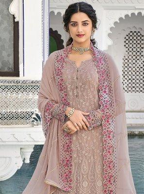 Mauve  Faux Georgette Party Designer Palazzo Salwar Kameez