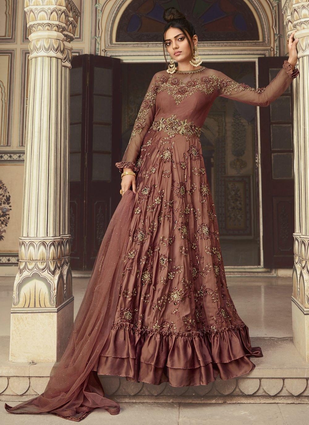 Mauve  Net Designer Gown