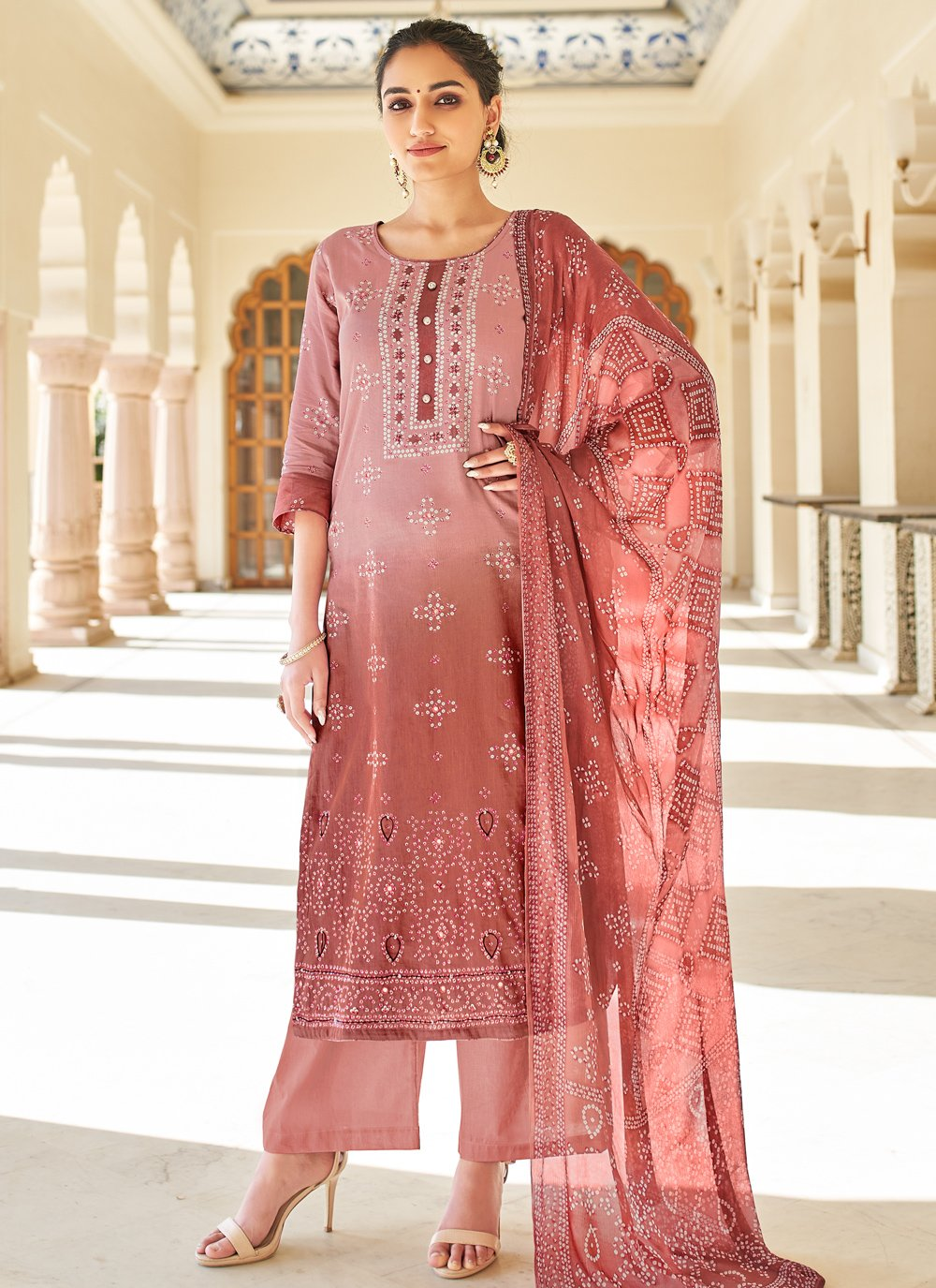 Mauve  Printed Fancy Fabric Designer Palazzo Suit