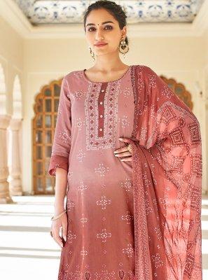 Mauve  Printed Fancy Fabric Designer Palazzo Suit