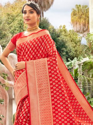 Meena Silk Red Designer Traditional Saree