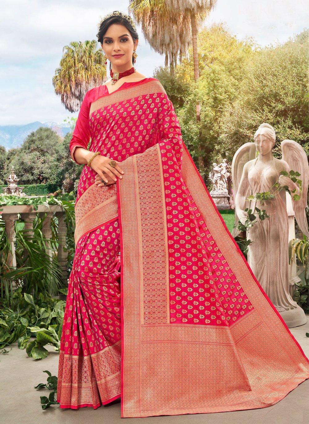Meena Silk Traditional Saree in Hot Pink