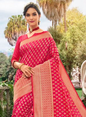 Meena Silk Traditional Saree in Hot Pink