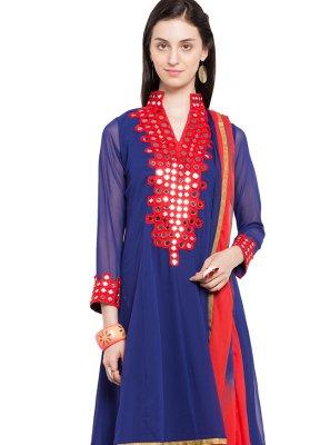 Mirror Blue Readymade Anarkali Salwar Suit