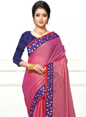 Mirror Faux Georgette Classic Designer Saree in Pink