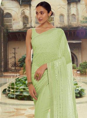 Mirror Georgette Classic Designer Saree in Green