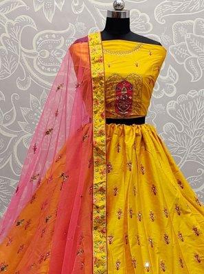 Mirror Silk Yellow Lehenga Choli