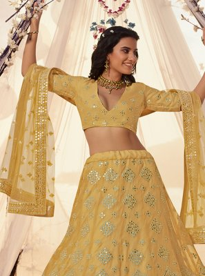 Mirror Yellow A Line Lehenga Choli