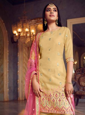 Mirror Yellow Net Designer Pakistani Salwar Suit