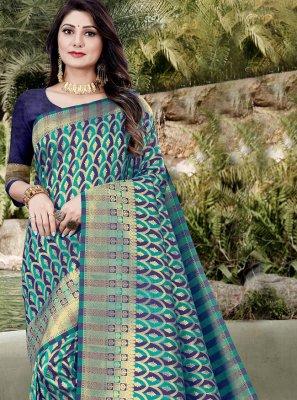 Morpeach  Banarasi Silk Weaving Traditional Designer Saree