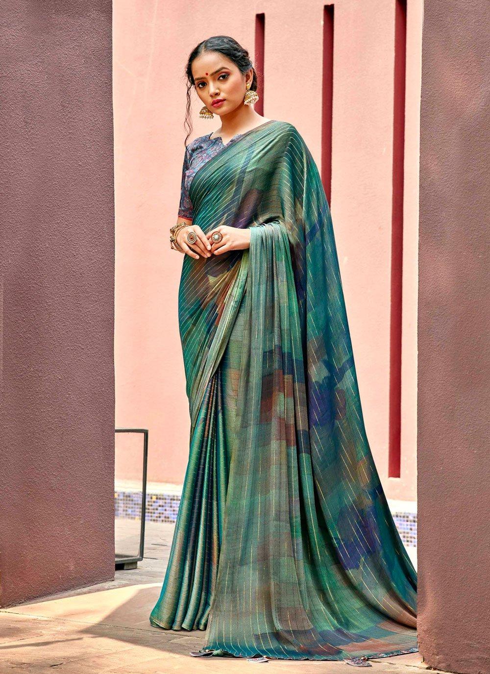 Multi Colour Abstract Print Ceremonial Printed Saree