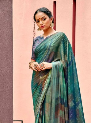 Multi Colour Abstract Print Ceremonial Printed Saree