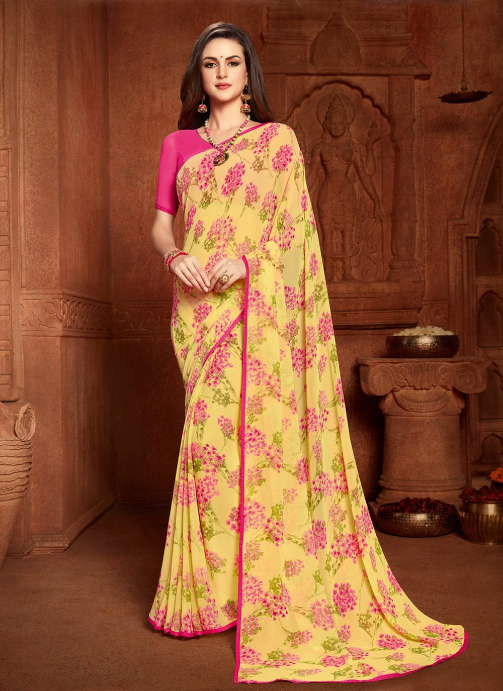 Multi Colour Abstract Print Faux Georgette Printed Saree