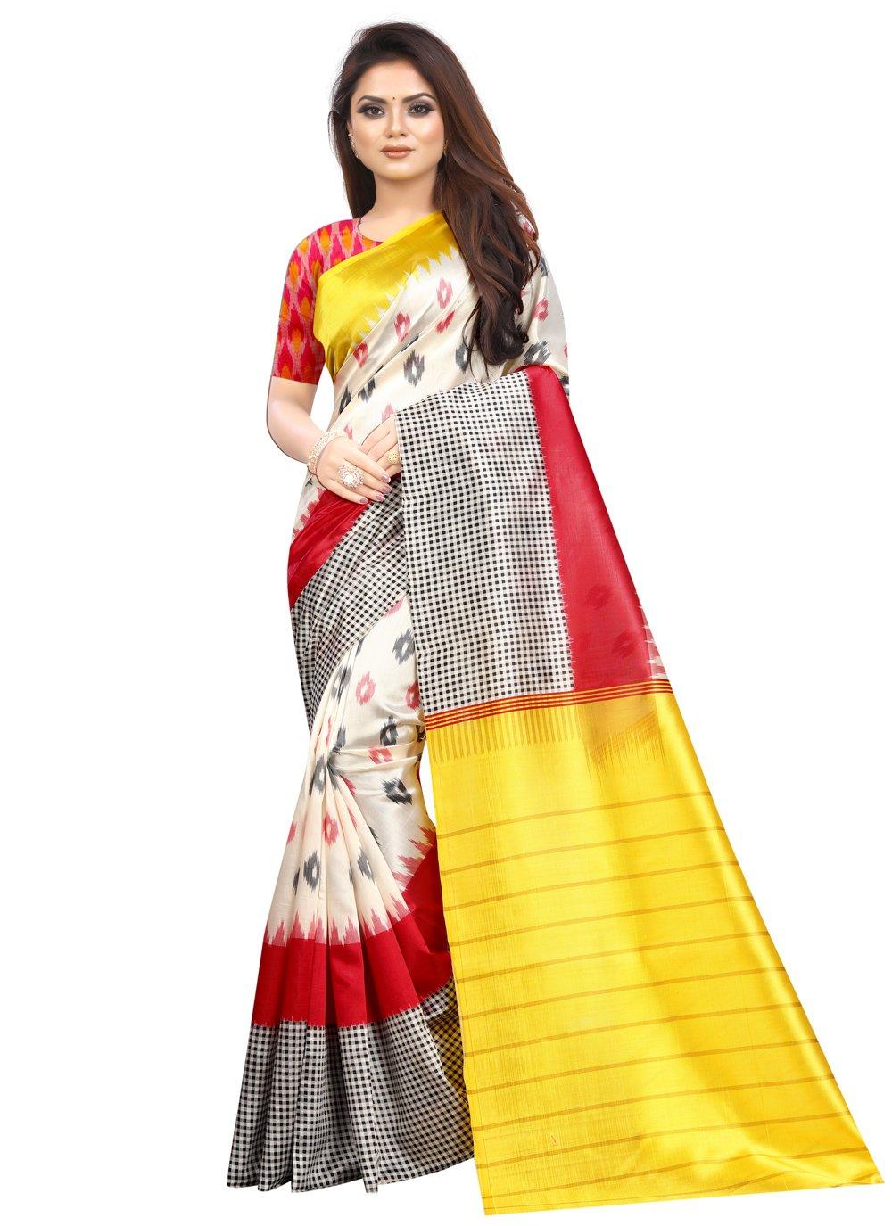 Multi Colour Abstract Print Printed Saree