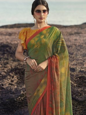 Multi Colour Abstract Print Satin Silk Printed Saree