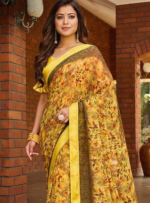 Multi Colour Abstract Print Weight Less Printed Saree