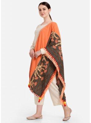 Multi Colour and Orange Engagement Khadi Designer Dupatta