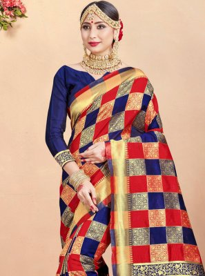 Multi Colour Art Banarasi Silk Festival Traditional Saree