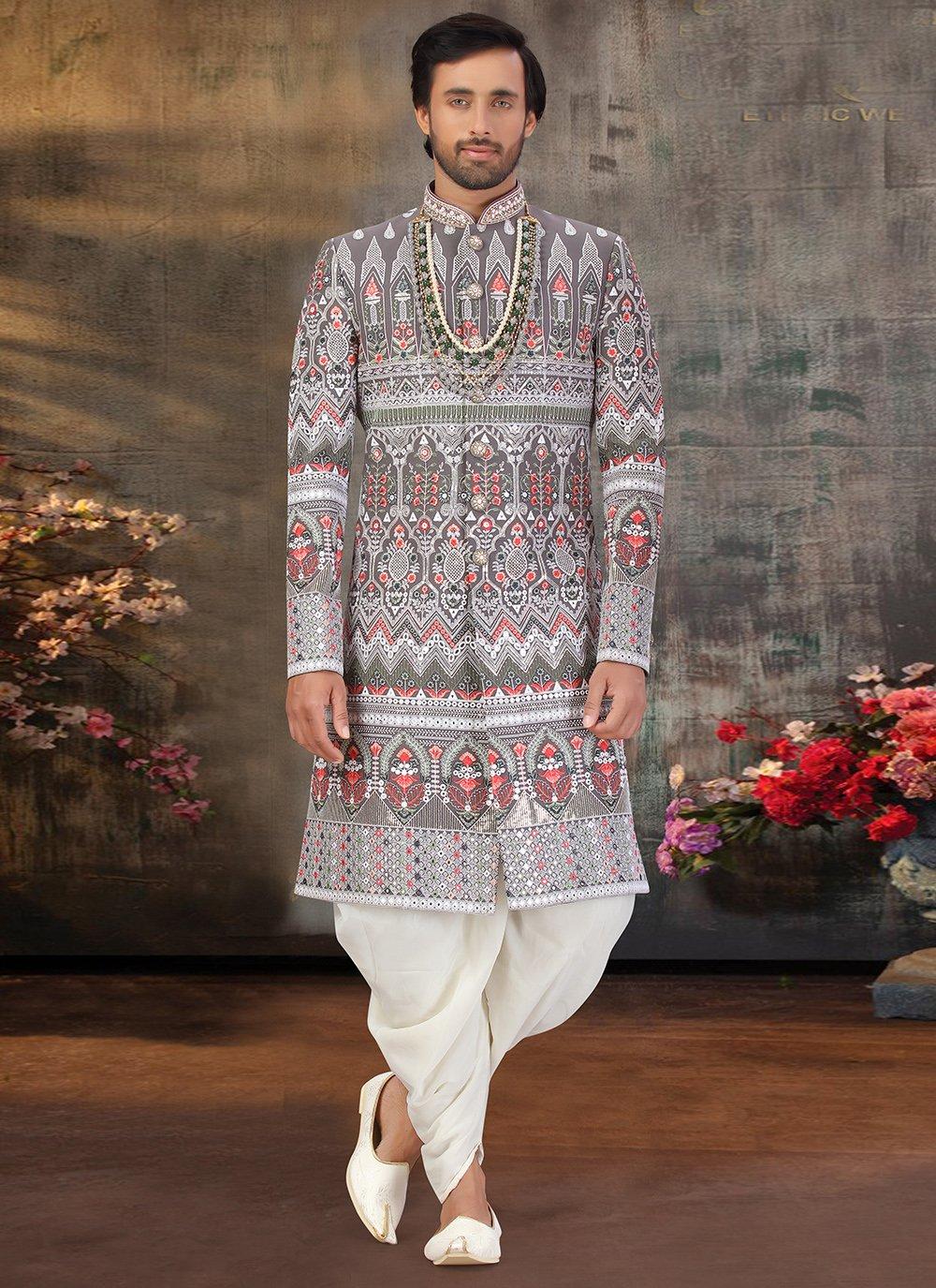 Multi Colour Art Silk Embroidered Sherwani