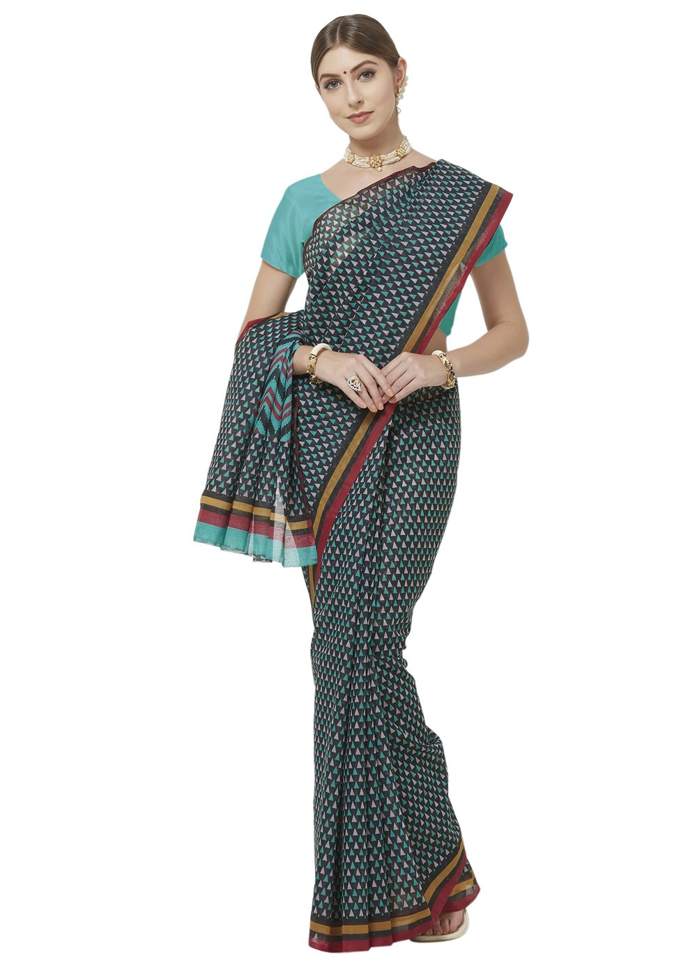 Multi Colour Blended Cotton Abstract Print Printed Saree