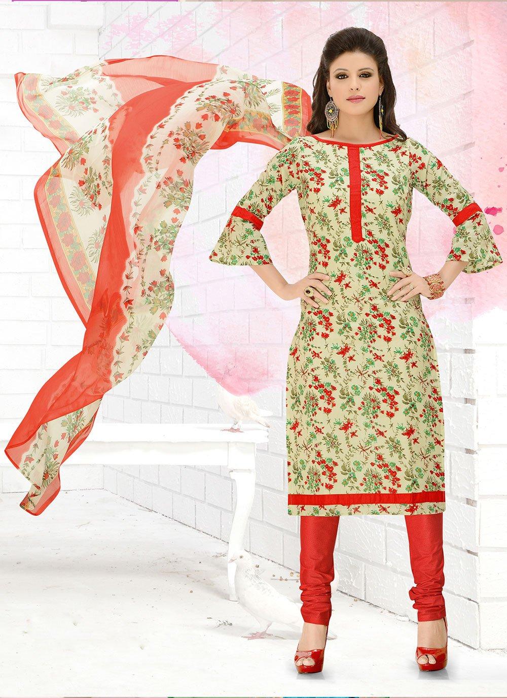 Multi Colour Casual Cotton Churidar Suit