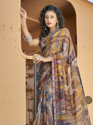Multi Colour Casual Faux Georgette Casual Saree