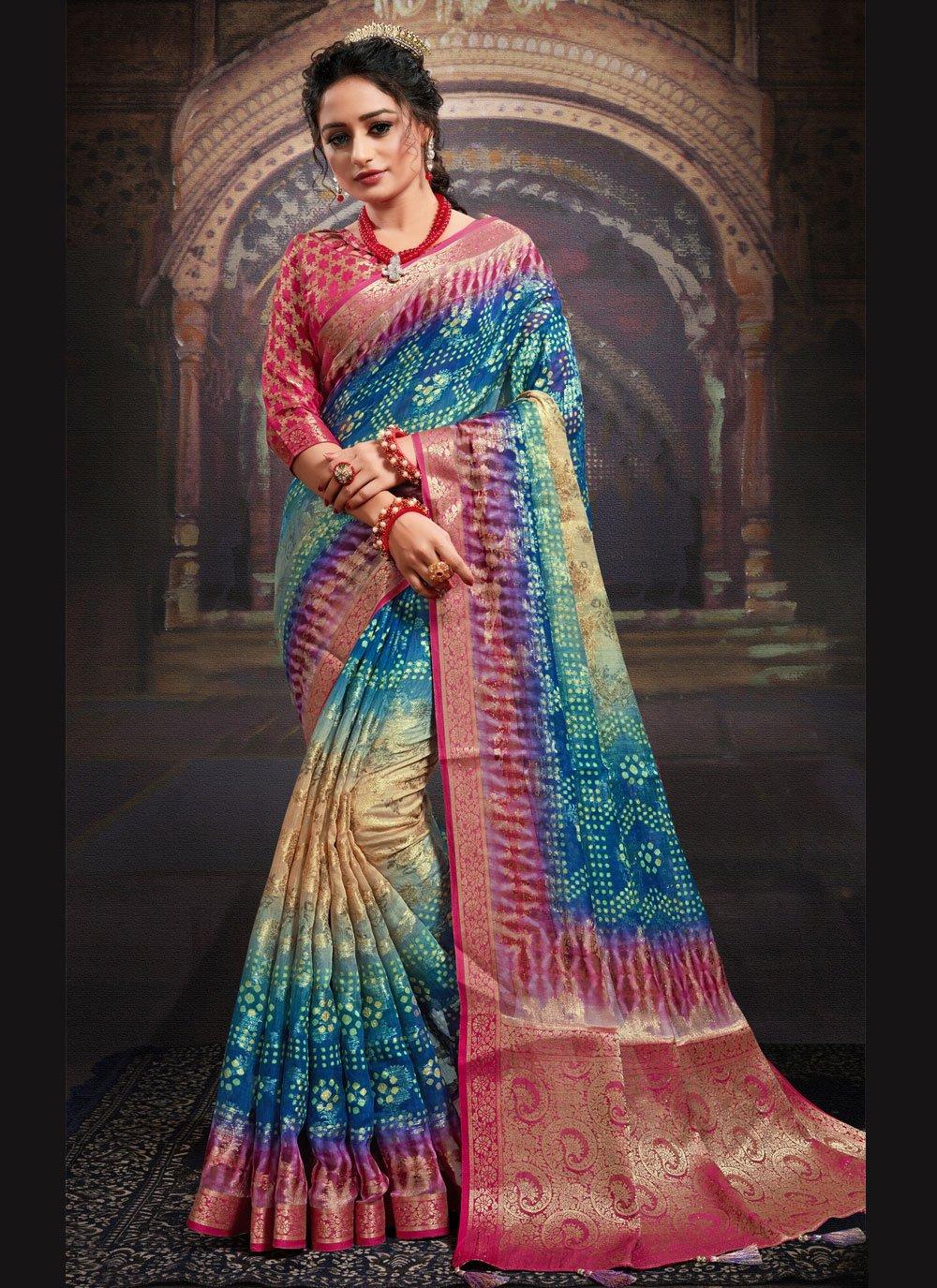 Multi Colour Ceremonial Fancy Fabric Designer Saree