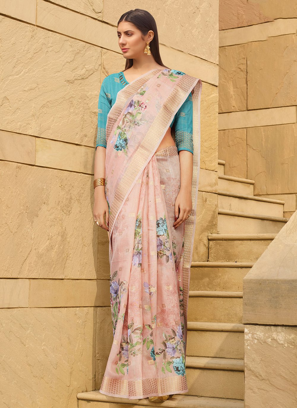 Multi Colour Ceremonial Linen Printed Saree