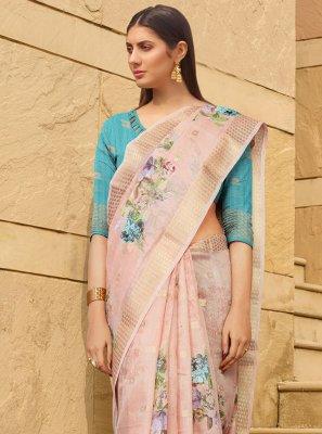 Multi Colour Ceremonial Linen Printed Saree