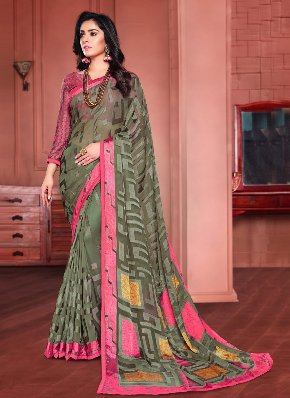 Multi Colour Ceremonial Printed Saree
