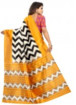 Multi Colour Ceremonial Raw Silk Printed Saree