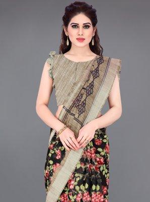 Multi Colour Cotton Printed Printed Saree