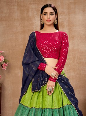 Multi Colour Cotton Sequins Lehenga Choli