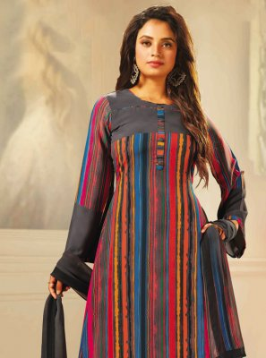 Multi Colour Crepe Silk Festival Designer Palazzo Suit