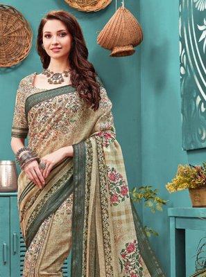 Multi Colour Digital Print Cotton Printed Saree